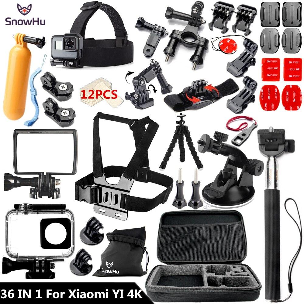 SnowHu pour Xiaomi Yi 4 K accessoires Stick étanche boîtier trépied pour Xiaomi Yi 4 K Yi2 Action caméra internationale 2 II GS61