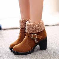 Vogue Women Boots Nice Ankle Boots For Women Short Plush Sewing Winter Shoes Casual High Heel Boots Botas Mujer