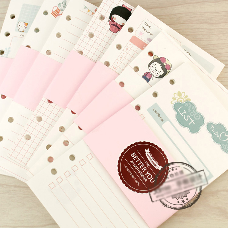 New Cute Notebook Papers A5A6 Diary Girly series Color Inner Core Planner Filler Paper Inside Page for Filofax Stationery hand book page loose notebook adapter filofax core a5 a6 core page notebook planner filofax journal personal diary filler papers