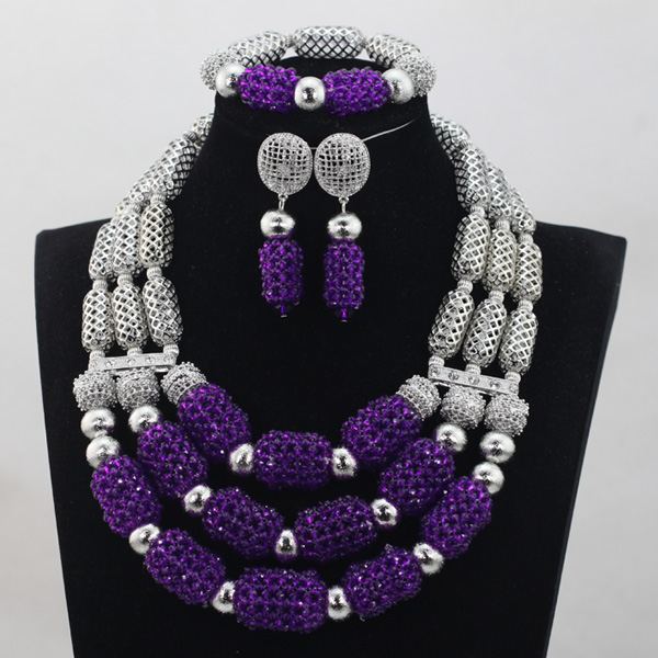 Incredible Purple Crystal Beads Sets Nigerian African Wedding Bridal/Women Party Beads Necklace Jewelry Set Free Shipping ANJ246 purple clear ab crystal african wedding beads nigerian beaded necklace jewelry set bridal party jewelry sets for women 10c sz30