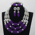 Incredible Purple Crystal Beads Sets Nigerian African Wedding Bridal/Women Party Beads Necklace Jewelry Set Free Shipping ANJ246