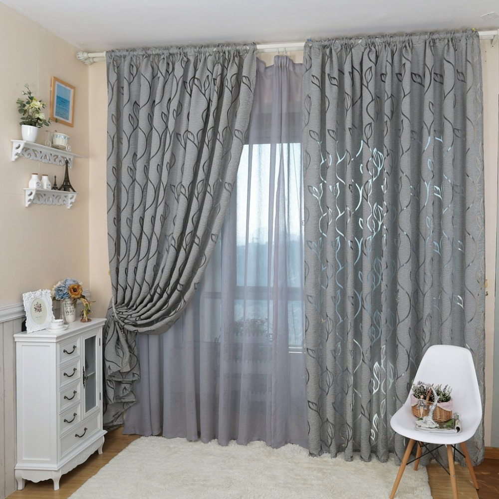 Decorative moderne tende jacquard grigio tende finestra tenda per ...