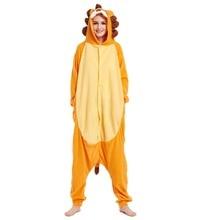 Флисовый комбинезон с принтом льва унисекс для взрослых Пижама Kigurumi карнавальный костюм животного для костюмированного представления пижамы