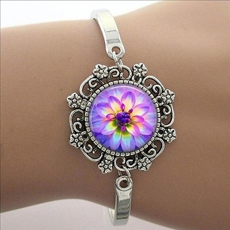 TAFREE Blue Mandala Art Picture Bracelet Hot Fashion Silver Plated Bracelet & Bangle For Men Women Yoga Zen Jewelry Gifts HT011