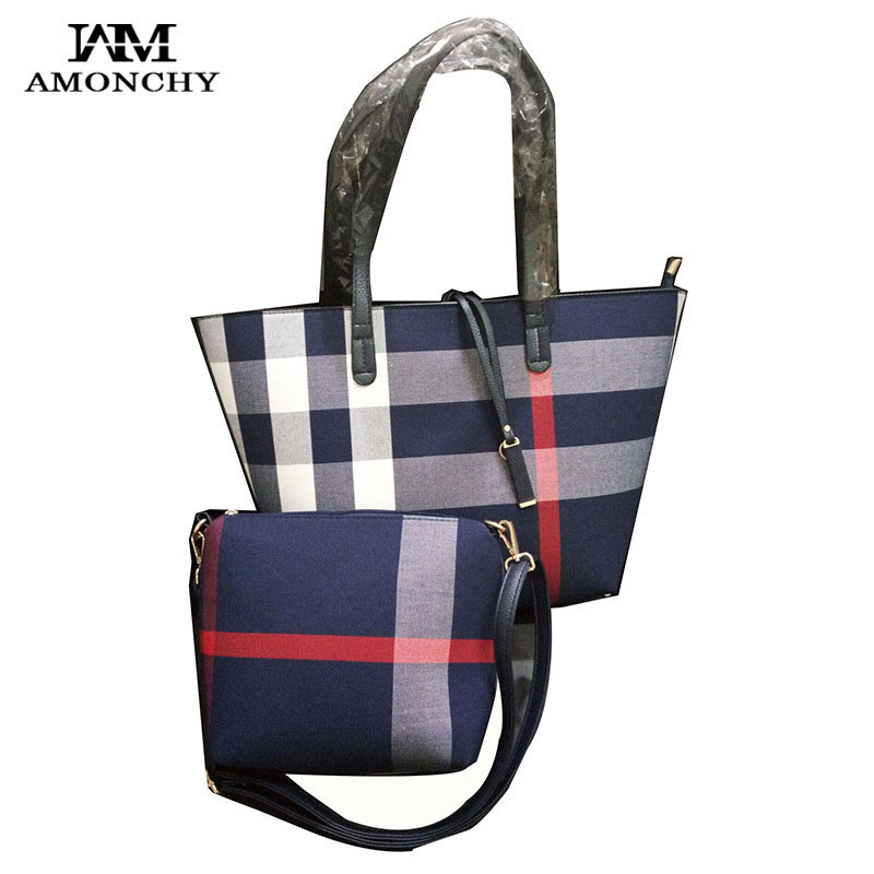 Famous Brand Plaid Women Handbags Classical Canvas Designer Bag Large Ladies Shoulder Shopping Bags Tassel Striped Composite Bag 2018 fashion lady handbags women canvas messenger bags shopping bags ladies casual green striped smiling face hand bag party