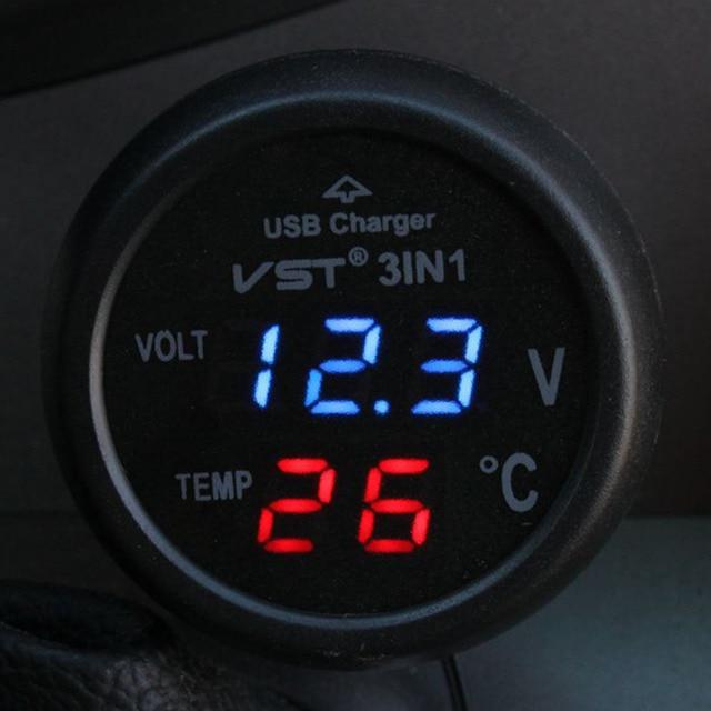 3 in 1 Dual LED Voltmeter Thermometer Voltage Tester 12-24V Cigarette Lighter USB Car Charger 5V 2.1A Digital Display 2016