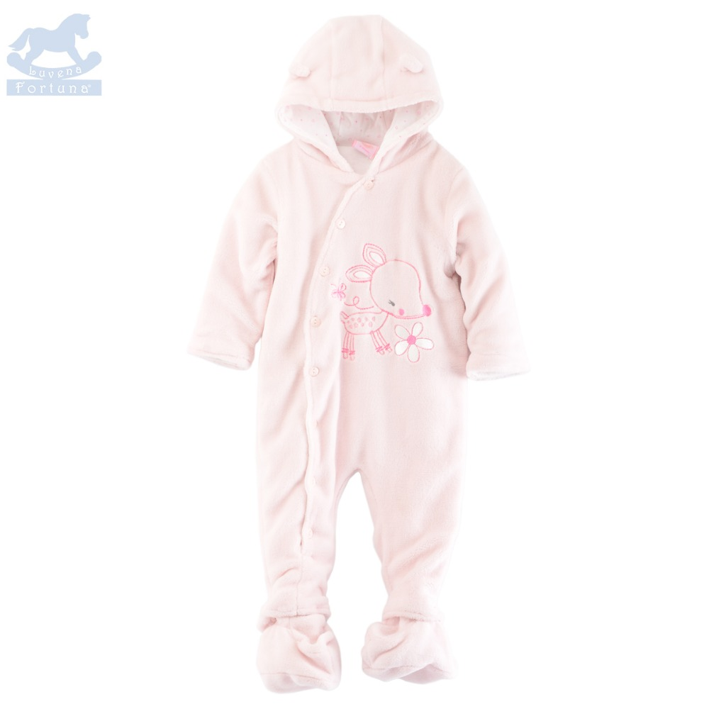 Luvena Fortuna 2017 New Style Autumn Winter Baby Boys&Girls Hooded Fleece Snowsuit (Feet Separant) G8594&G8596,Sold By JD Store