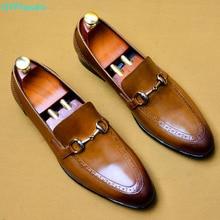 Brand Business Mens Dress Shoes Genuine Leather Black Italian Fashion Male Shoes 2019 Slip On Shoes For Men US 11.5 недорого