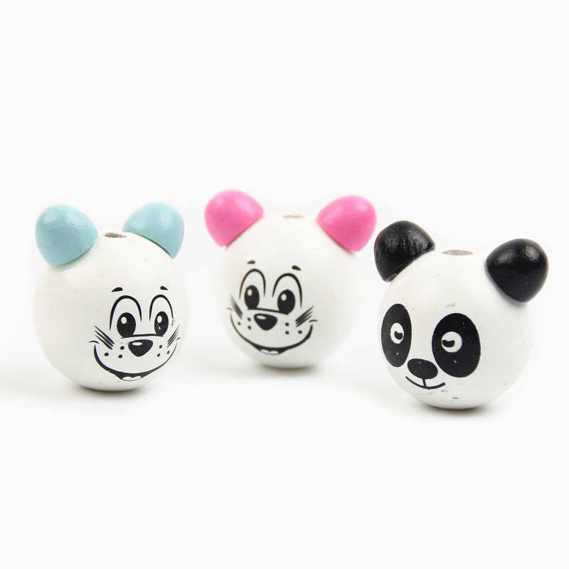 Reasonable 20pcs Wooden Beads Diy 3d Panda Smiling Face Wood Beads For Jewelry Making Children Toys Pacifier Clip Attachme Accessories