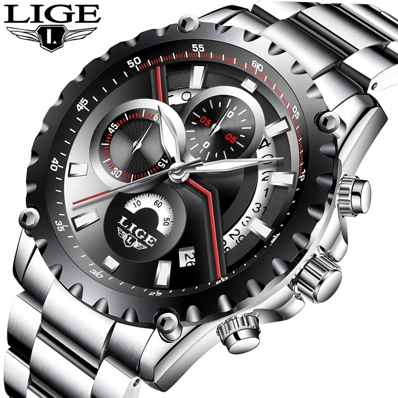 Relojes hombre 2018 LIGE Mens Watches Top luxury brand Men Military Sports Waterproof watch Men Stainless Steel Quartz Clock+Box 2017 lige luxury top brand men s sports watches fashion casual quartz watch men military wrist watch male clock relojes hombre