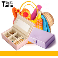 Smooth Leather Jewelry Box Princess Dressing Mini Jewelry Organizer Box Earring Ring Collection Travel Casket Christmas
