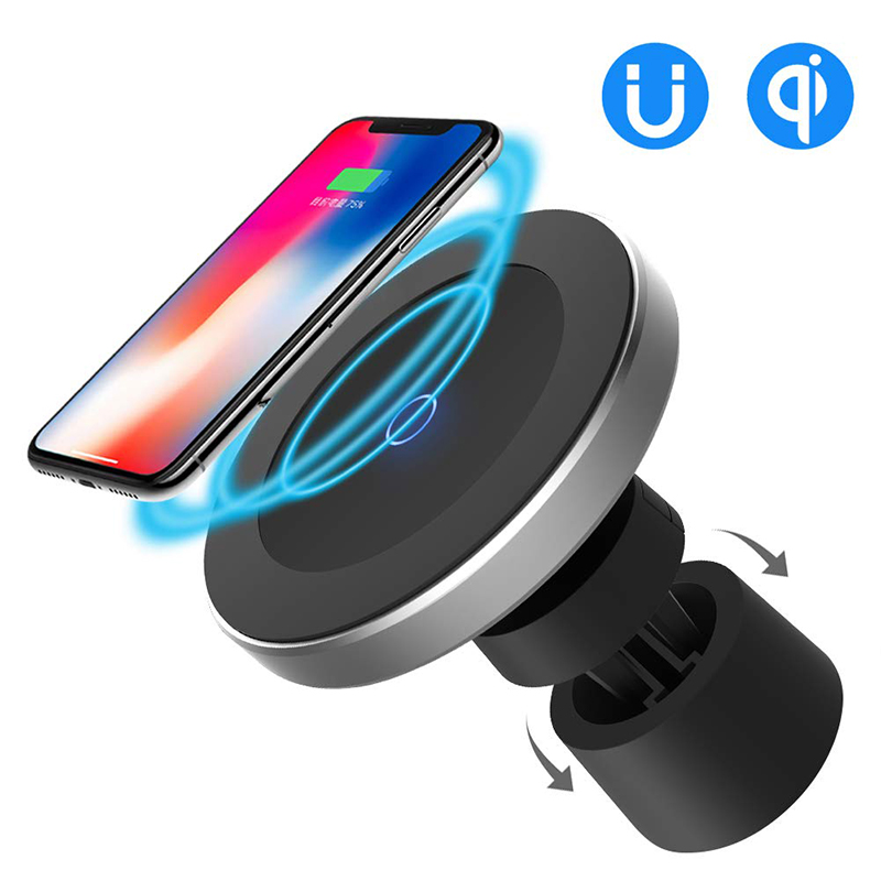<font><b>10W</b></font> Fast Charging Magnetic Wireless Car <font><b>Charger</b></font> 360 Degree Rotation QI Wireless Charging Air Vent Dashboard Car Phone Holder image
