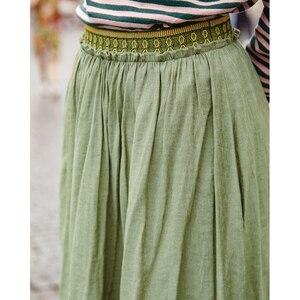 Image 4 - Inman primavera outono inferior impressão elástica império cintura uma linha de cor sólida boêmio uma linha saia