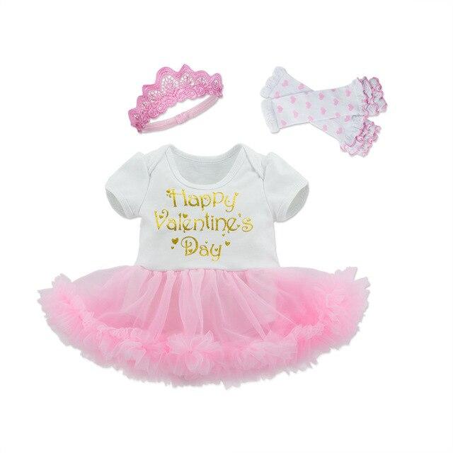 Tutú algodón Niñas Ropa conjuntos Bebes Romper Rosa Feliz Día de San  Valentín volantes vestido + 9dc012a5d51