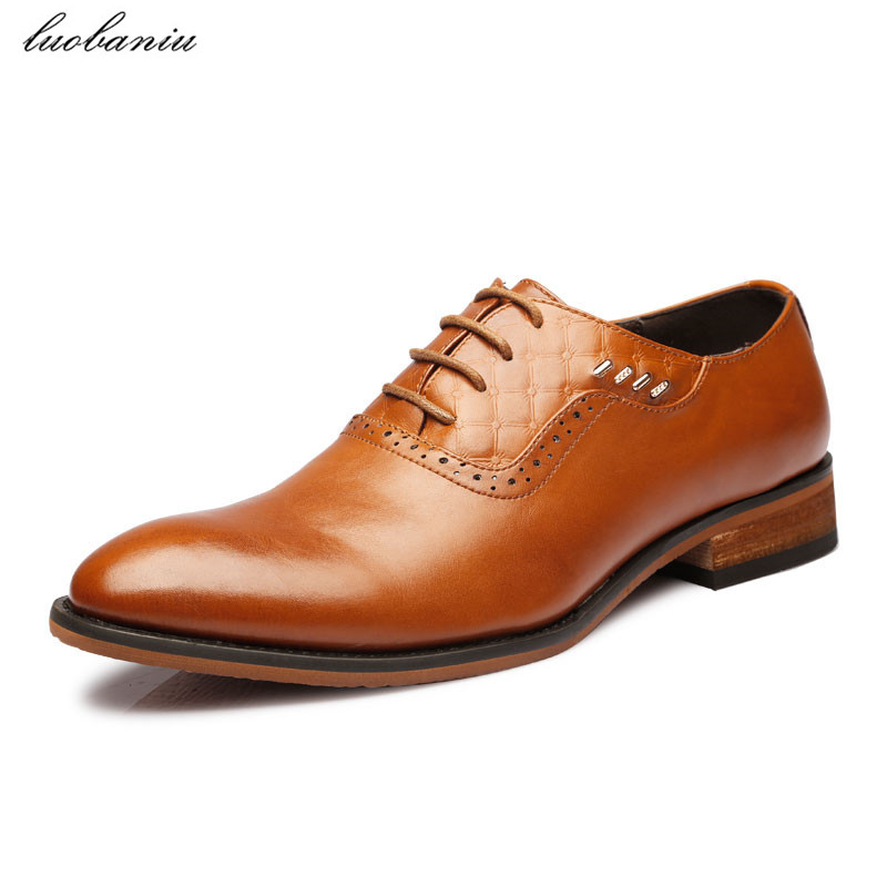 Oxfords Shoes For Men Dress Shoes Pointed Toe Men Shoes Formal Lace Up