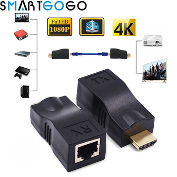 RJ45 4k Ports HDMI Extender HDMI Extension up to 30m Over CAT5e  6 UTP LAN Ethernet Cable for HDTV HDPC hdmi extender rj45