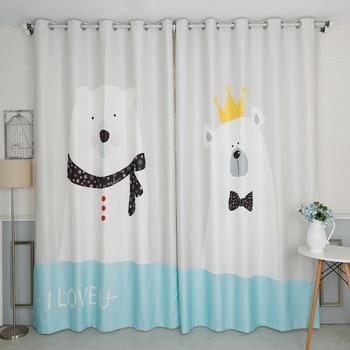 Custom Made 2x Window Drapery Curtain Nursery Kid Children Room Window Dressing Tulle 200 x 260cm Polar Bear Cartoon White Aqua