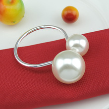 6PCS Western food utensils simple creative decorative mouth cloth ring scarf metal large pearl napkin buckle specia