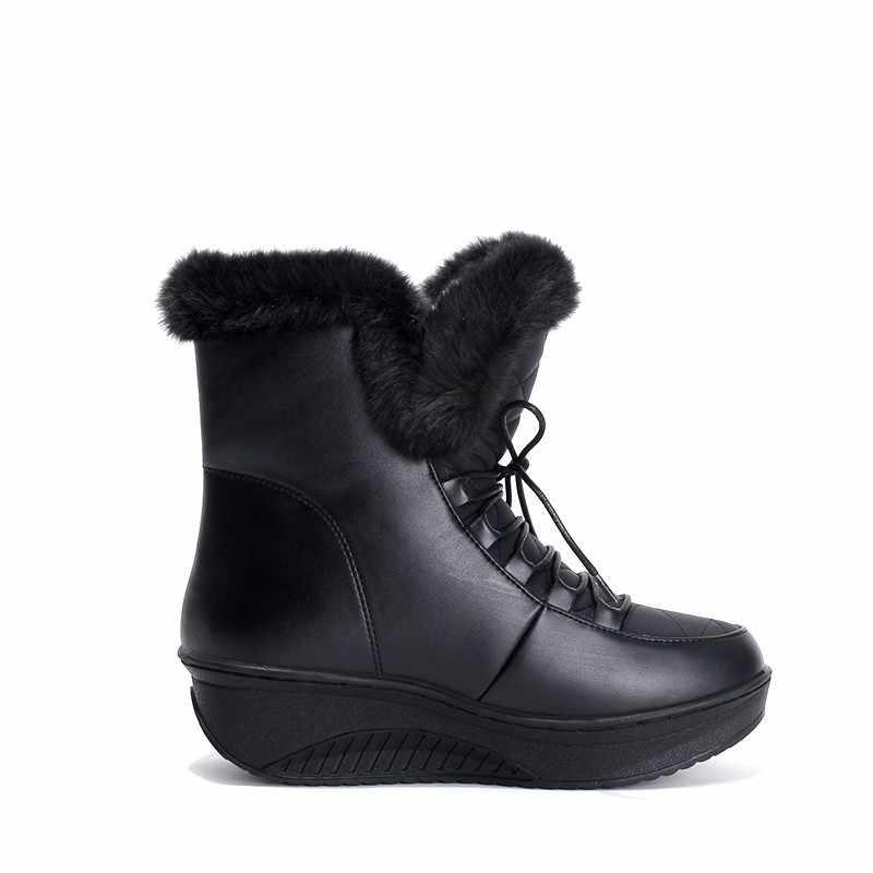 Asumer Sıcak Satış Ayakkabı Kadın Çizmeler Katı Slip-On Yumuşak Sevimli Kadın Kar Botları Yuvarlak Ayak Düz Kış kürk yarım çizmeler