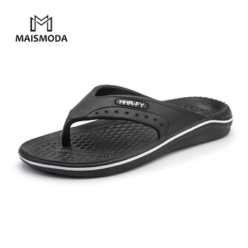 MAISMODA Summer Men Flip Flops Beach Slippers Men Casual Fashion Non-Slip PU Shoes Plus Size 40-45 Black Brown