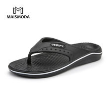 00687ae4a MAISMODA Summer Men Flip Flops Beach Slippers Men Casual Fashion Non-Slip  PU Shoes Plus Size 40-45 Black Brown
