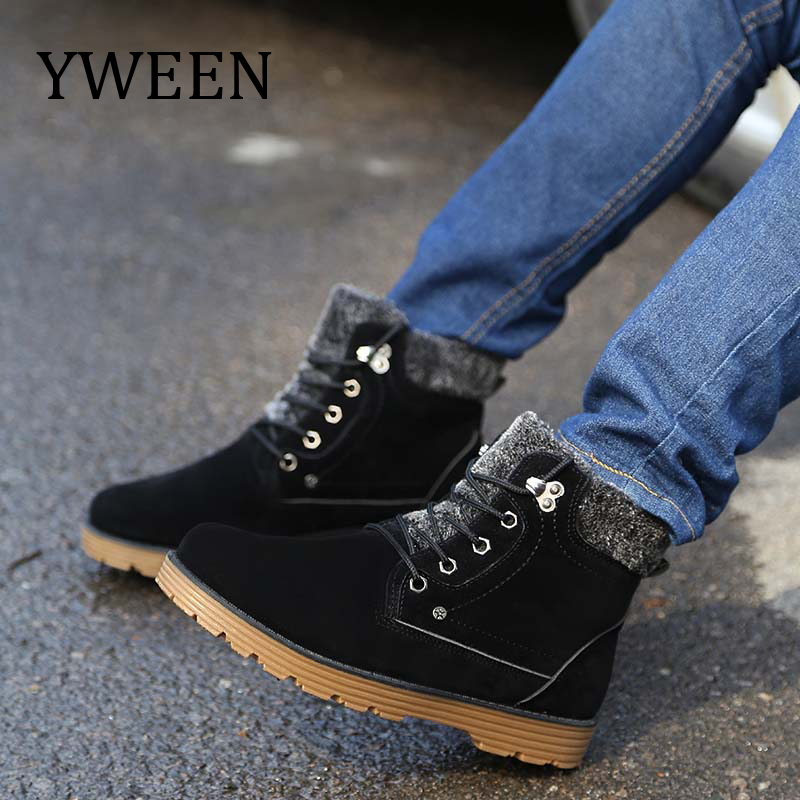 YWEEN Plush Snow Cotton men'shoes Autumn Winter Lace-up Shoes Men Style New Fashion Trend Flock Short men's Ankle Martin Boots фотообои komar prayer flags ng 1 84х1 27 м 1 606