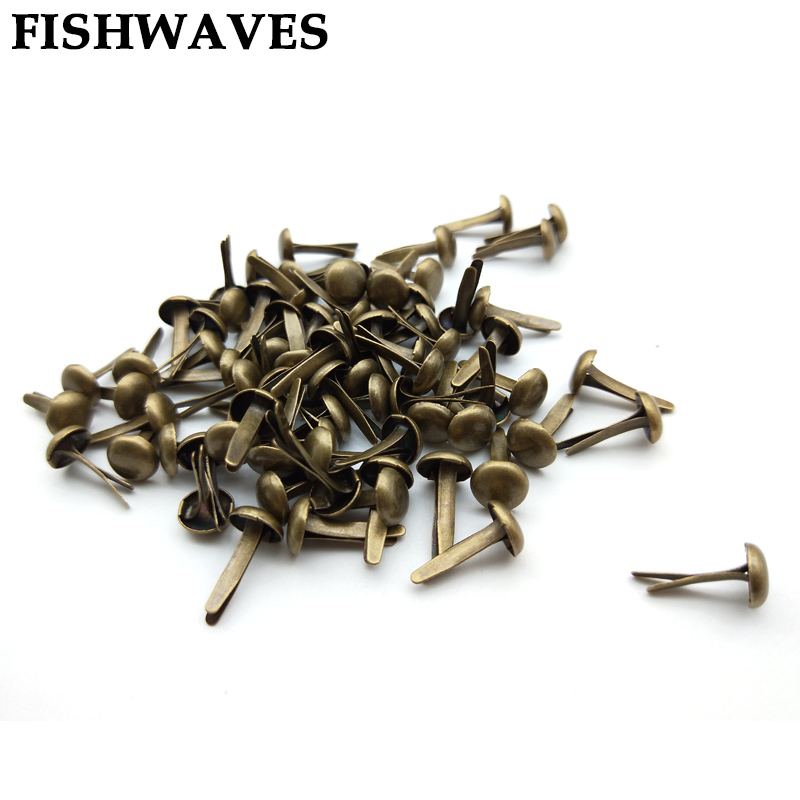 FISHWAVES 100pcs Bronze Vintage Metal Brads Diy Photo Album And Crafts Decoration Embellishment Scrapbooking Brads Accessories