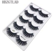 Faux cils épais et longs en vison, accessoire de maquillage pour yeux, extensions 3d, 5 paires/1 boîte, G800