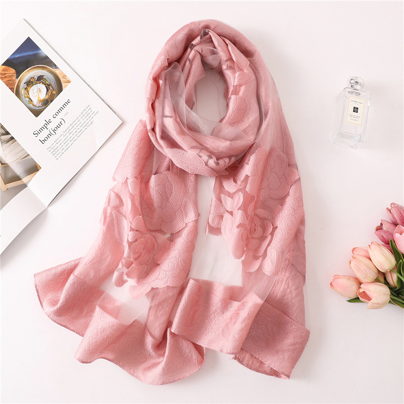 2019 solid color women   scarf   summer silk   scarves   for lady shawls and   wraps   organza Hollowed flowers beach stoles bandana foulard