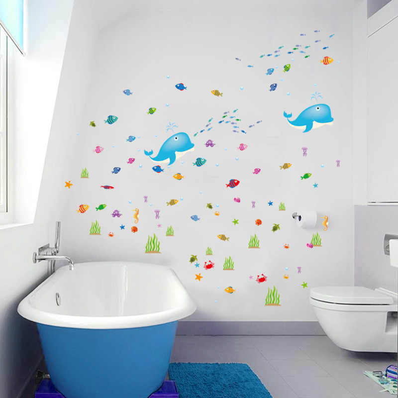 . Dolphin Underwater World 3D Wallpaper Cartoon Bathroom Bedroom Kids
