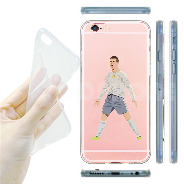 Famous KarimBenzema Cristiano Ronaldo Soccer Sports Stars Soft Clear Phone Case For iphone SE 55s 66sPlus Transparent Back Cover