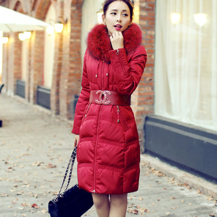 2016 new hot winter Thicken Warm woman Down jacket Coat Parkas Outerwear Hooded Raccoon Fur collar long plus size Luxury Slim