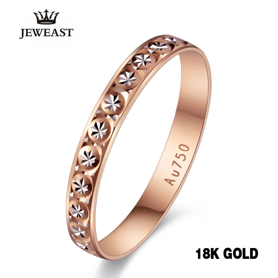 18k Pure Gold Ring Women Rose Engagement Wedding Bands Jewelry Carved Design Real Solid 750 Party Trendy 2017 New Hot Good
