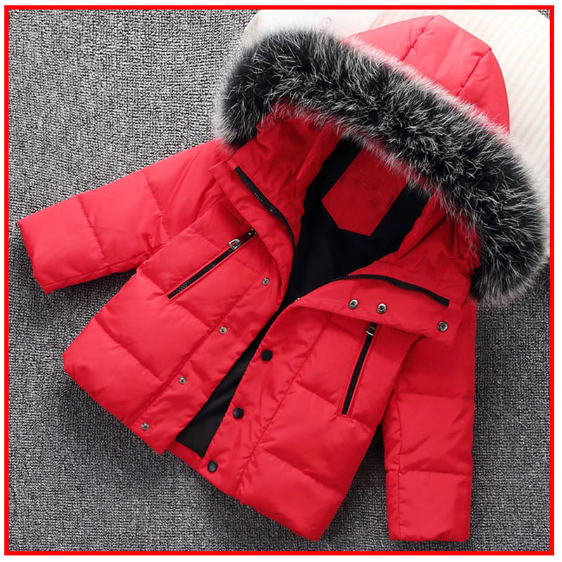 Christmas boys winter down jackets 2017 kids fur hooded thickened down Jackets for girls little baby girls parkas coats outwear 2017 kids jacket winter for girl and coats duck down girls fluffy fur hooded jackets waterproof outwear parkas coat windproof