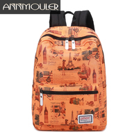 Annmouler Brand Women Backpack Discount Large Capacity Backpacks Zipper Casual Daypack Eiffel Tower Print Student School Bags