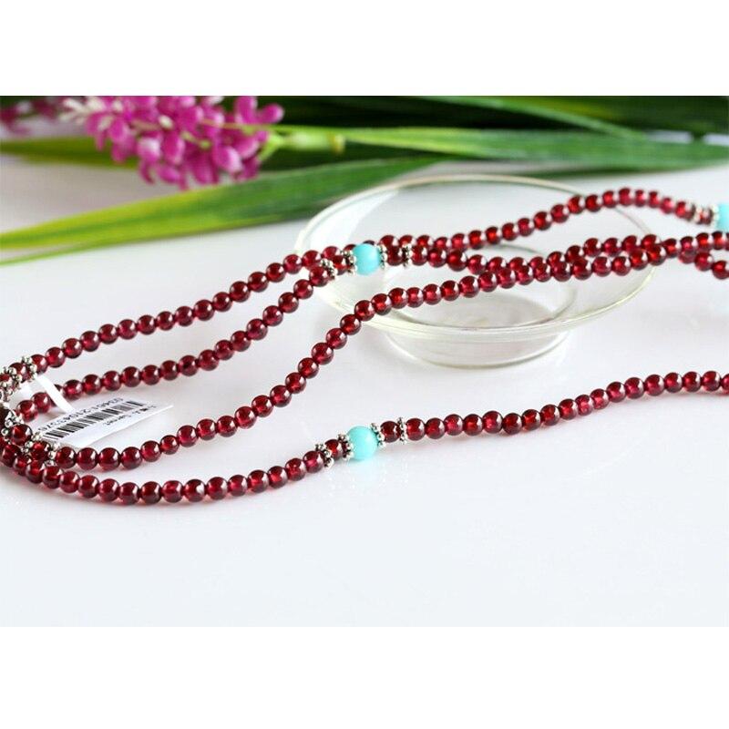 Echt Rode Granaat Met Thailand Zilver Hoge Kwaliteit Stretch 5 Multi Roll Stretch Armband Ketting Ronde Kleine kralen 03461