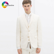 Summer Ivory Linen Men Suits For Wedding Suit Bridegroom Custom Slim Fit Groom Prom Tuxedo Tailor Made Costumes Best Man 3Pieces