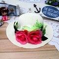 1 Шт. 2016 Новая Корейская Мода Открытый Женщин И Девочка Вс шляпы Весна Лето родитель-ребенок Пляж Соломенная Шляпа 8 Цветов Бесплатная Доставка