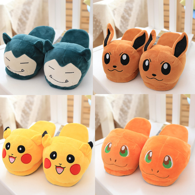 Anime Cartoon Pokemon Slippers Elf Ball Eevee Umbreon Go Pikachu Plush Shoes Home House Winter Slippers Cosplay Shoes