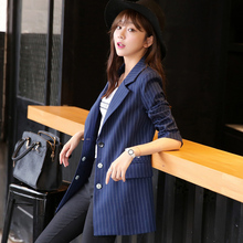 2016 Spring Fashion Striped Casual Blazer Jacket Korean Female Autumn Long-Sleeved Plus Size Slim Suits Jackets A785