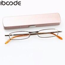 Iboode портативные мини-очки для чтения с ручкой, тонкие металлические очки для мужчин и женщин, весенние очки для дальнозоркости с ручкой, чехол+ 1,0 до+ 4,0 унисекс