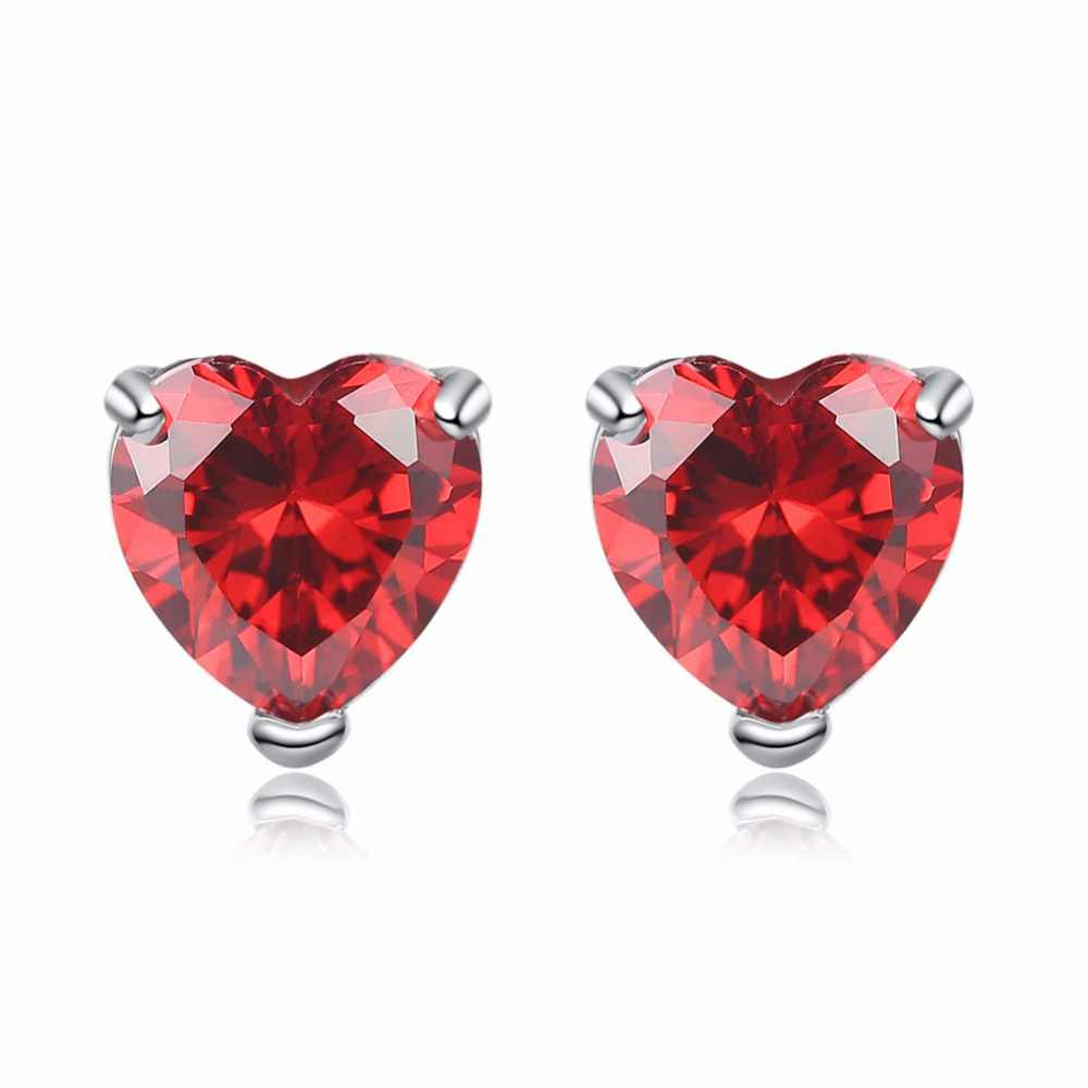 Fashion silver color heart white red purple AAA zircon stud earrings Valentine gift jewels for women drop shipping brincos