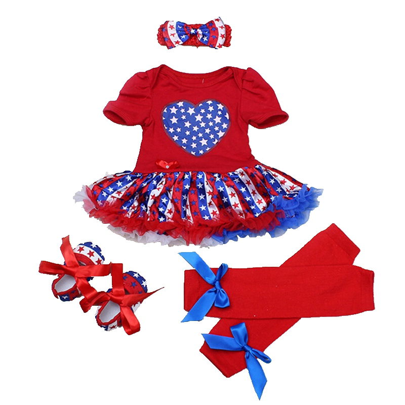 Love America Stars 4th Of July Baby Girl Romper Dress Leg Warmers Crib Shoe Headband Newborn Tutu Sets Summer Girls Clothes 2018