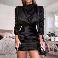 2019 Spring Women Elegant Work Wear Office Cocktail Scrunched Dress Satin Long Sleeve Slit Zipper Back Ruched Party Mini Dress