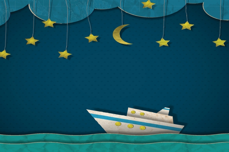 Buy mural bright ship and stars wallpaper for Creation mural kids