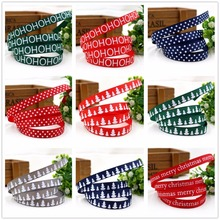 1591913,9 mm 10yard Christmas series, printed grosgrain ribbon, DIY craft materials.(China)