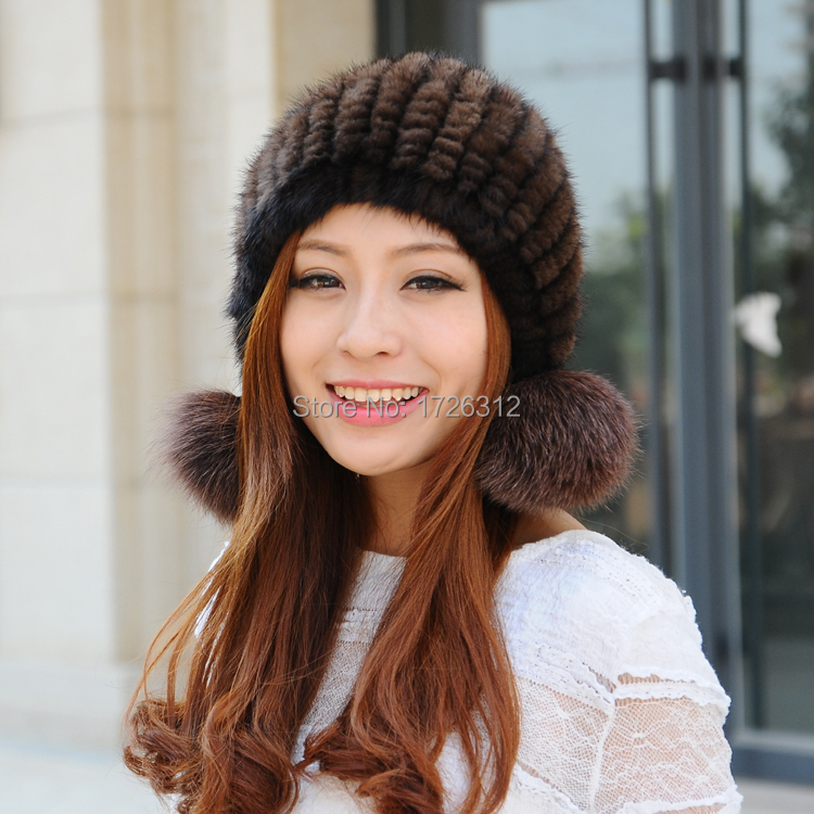 2017 luxury Mink Fur Hat 100% Real Mink Fur Caps Fox POMPON Beanie Hats for Women Caps Headgear 19colors стоимость