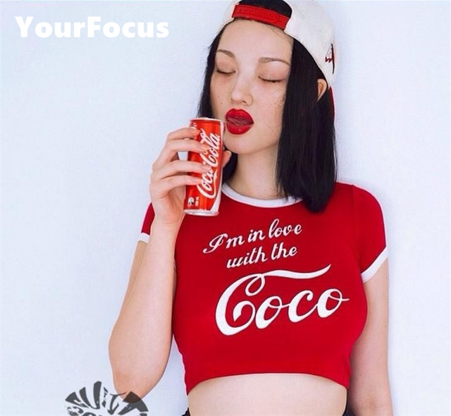6854bd8f904fd 2017 summer retro vintage sexy spoof Im in love with the Coca print cropped  in red tight short-sleeved tshirt women crop tops