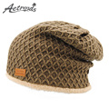 [AETRENDS] 5 Solid Colors Thick Warm Baggy Beanies Men's Wool Feel Beanie Ski Hats with Velvet Inside Z-3898