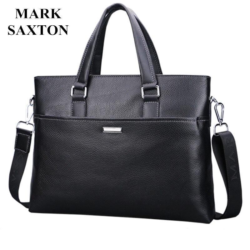 Новый модный мужской портфель из натуральной кожи известного бренда, коммерческий портфель для ноутбука Mark Saxton, сумка через плечо